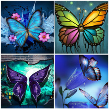 Multicolor Butterfly Embroidery Full Round Drill 5D Diamond Painting Animal Home Room Decoration Mosaic Resin Beads Cross Stitch motorcycle exhaust middle link pipe slip on for honda cbr500r 2013 2015
