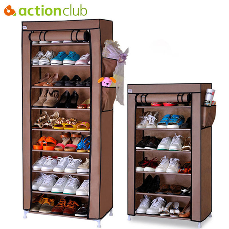 Actionclub Thick Non-woven Dustproof Shoe Cabinet DIY Assembly Storage Shoes Rack Shoe Organizer Shelves 10 Layers 7 Layers shoe rack nonwovens steel pipe 4 layers shoe cabinet easy assembled shelf storage organizer stand holder living room furniture