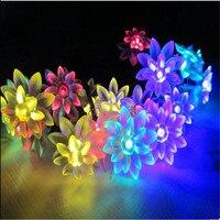 10M 100 LED kwiaty lotosu lampki świąteczne na sznurku świąteczna girlanda dekoracyjna girlanda LED wesele oświetlenie świąteczne Home Decor w Sznur lamp LED od Lampy i oświetlenie na