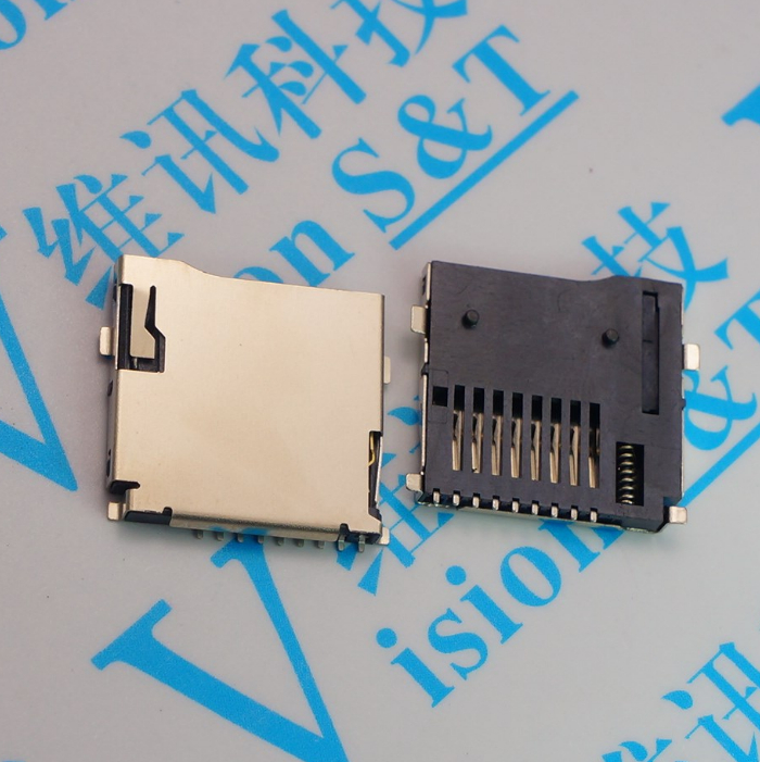 100 Uds. Conectores de ranura para tarjeta Micro SD de 9 pines T-Flash estilo común tamaño 14*15mm TF tarjeta deck ranura de tarjeta de acción automática pop-up