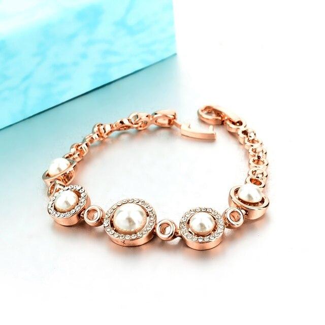 женские браслеты toucheart золотистые с искусственным жемчугом фотография