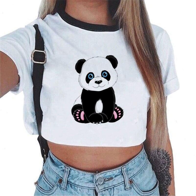 Summer Tops For Women 2018 Fashion Crop Top White Short Sleeve Panda Anchor Print Casual Top Women Short Cropped Tank Tops