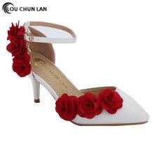 Frauen beschuht Sandelholze weiße Hochzeitsschuhfrauenwölbungs-Sandelholzblumenspitzeperle beschuht Brautschuhrotblume