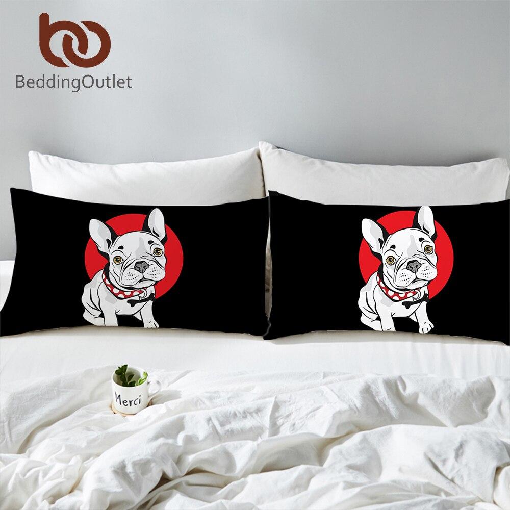 BeddingOutlet Bulldog Body Pillowcase Black and Red Bed Pillow Cover Cartoon Pug Dog Pillow Case Home Kids Bedding 2pcs