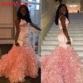 Sexy Profundo Cuello En V Sirena de Pink Africanos Vestidos de Baile 2017 tanque Sin Mangas de Las Colmenas de La Falda Adolescentes Vestidos de Partido vestido de Fiesta de festa