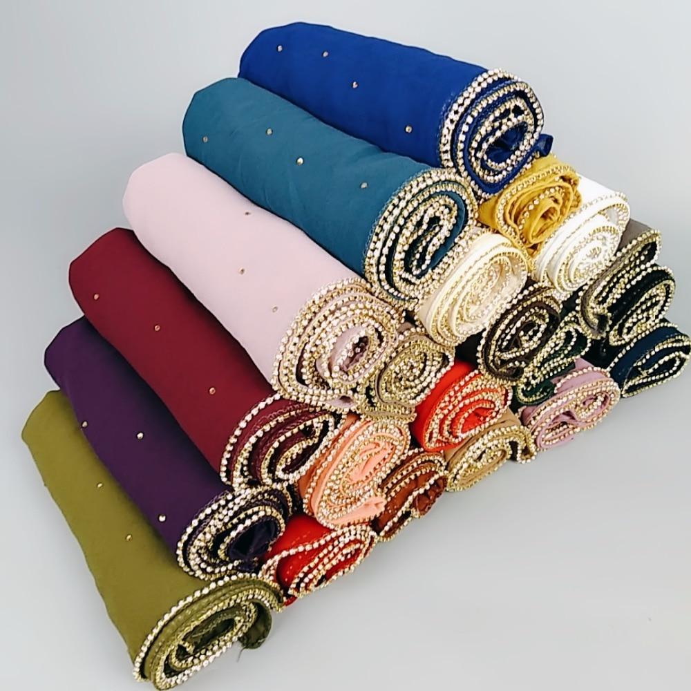 M1 Hot sale diamond bead bubble chiffon   wrap   hijab shawls lady headband   scarf     scarves   180*75cm