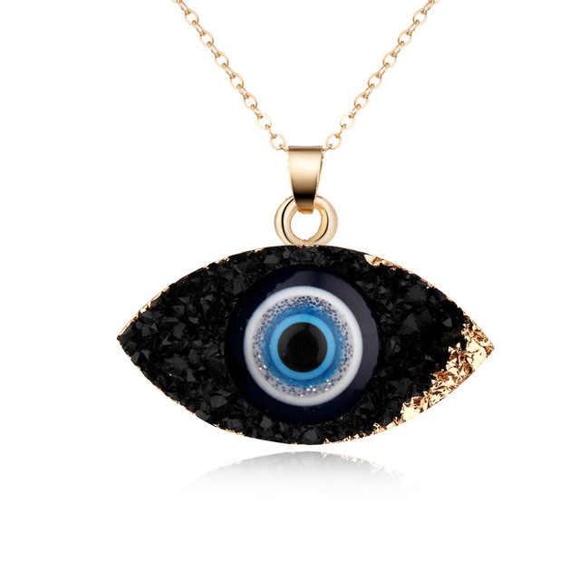 Личность Друза природного камня глаза сглаза кулон ожерелье длинная цепочка Кристалл турецкий глаз ожерелья для женщин девушек удача ювелирные изделия