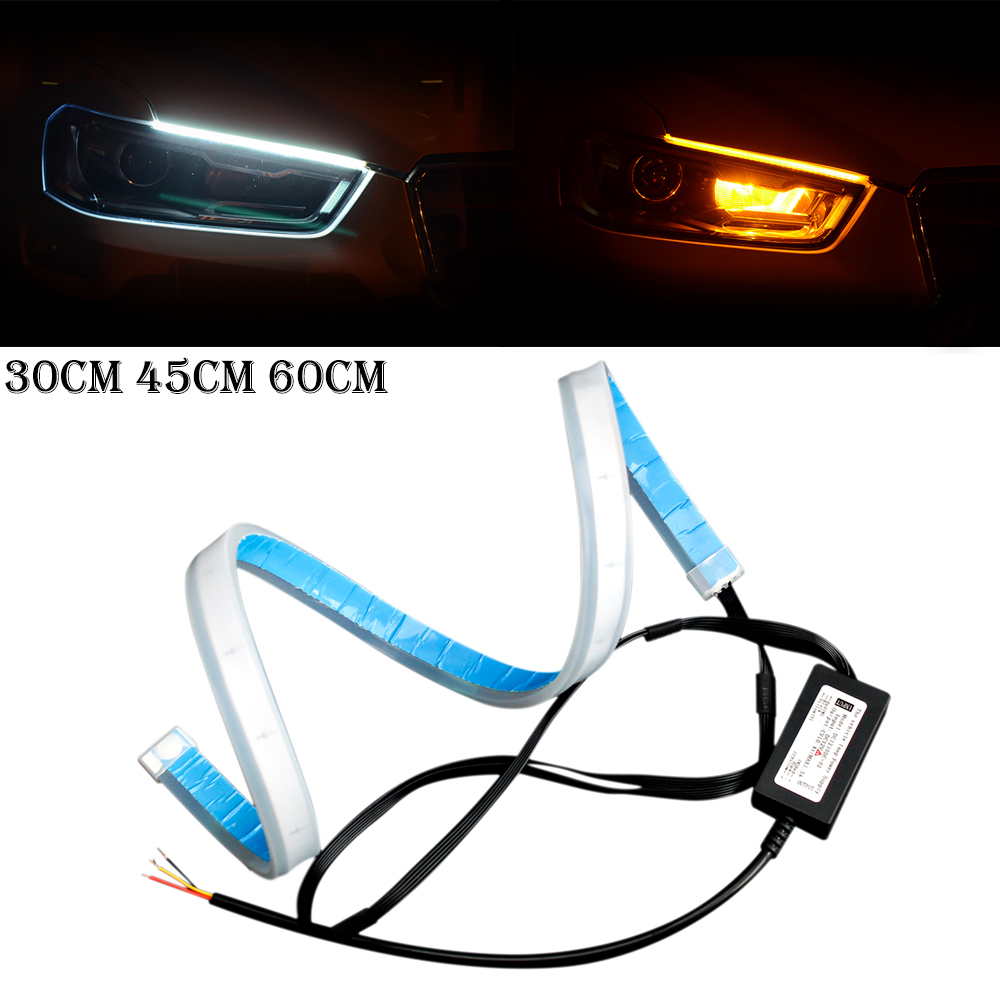 2pcs 30cm 45cm 60cm Flexible DRL Car Daytime Running Lights Angle Eyes Strip LED Light Headlight Styling