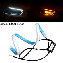 цена на 2pcs 30cm 45cm 60cm Flexible DRL Car Daytime Running Lights Angle Eyes Strip LED DRL Strip Light Car Headlight Strip Car Styling