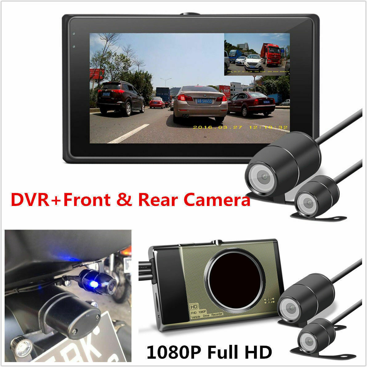 HD 1080P/720P Front/Rear View Camera Motorcycle DVR Dash Cam Camera GPS G-Sensor Night Vision 3