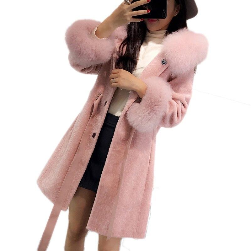 Women Winter Sheep Shearling Fur Coat Large Natural Fox Fur Collar Long Warm Real Fur Coats Genuine Wool Jackets