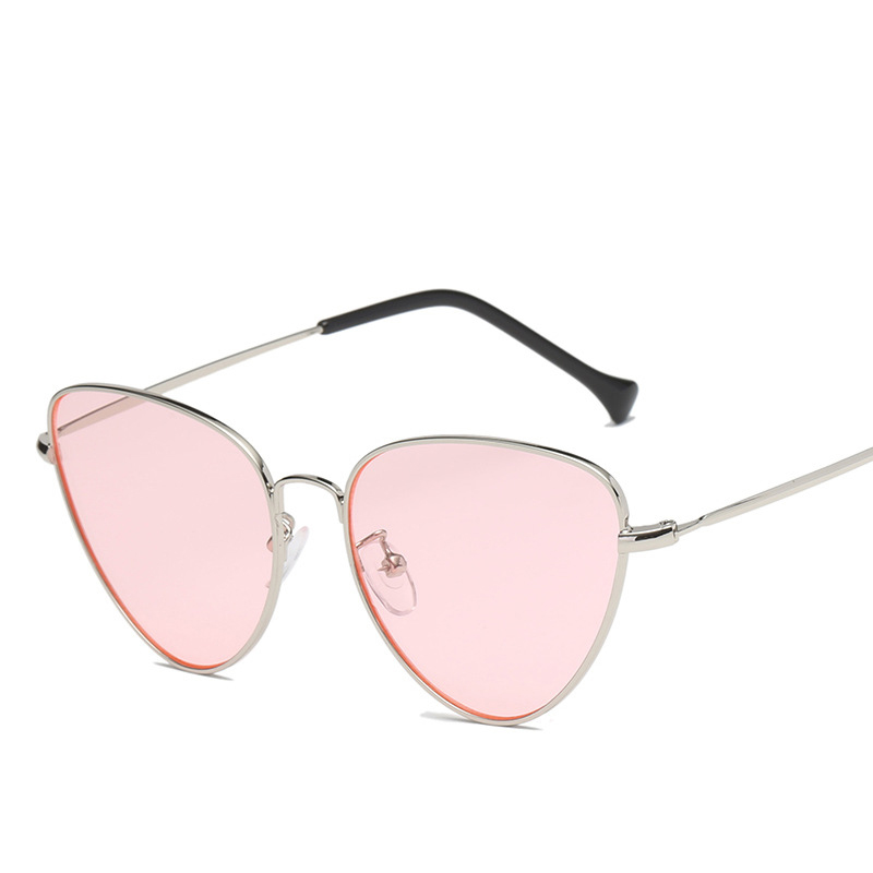 VCKA 2018 Cat Eye Women Sunglasses Tinted Color Lens Vintage Shape Sun Glasses Metal Frame Eyewear Red Female Sunglasses UV400