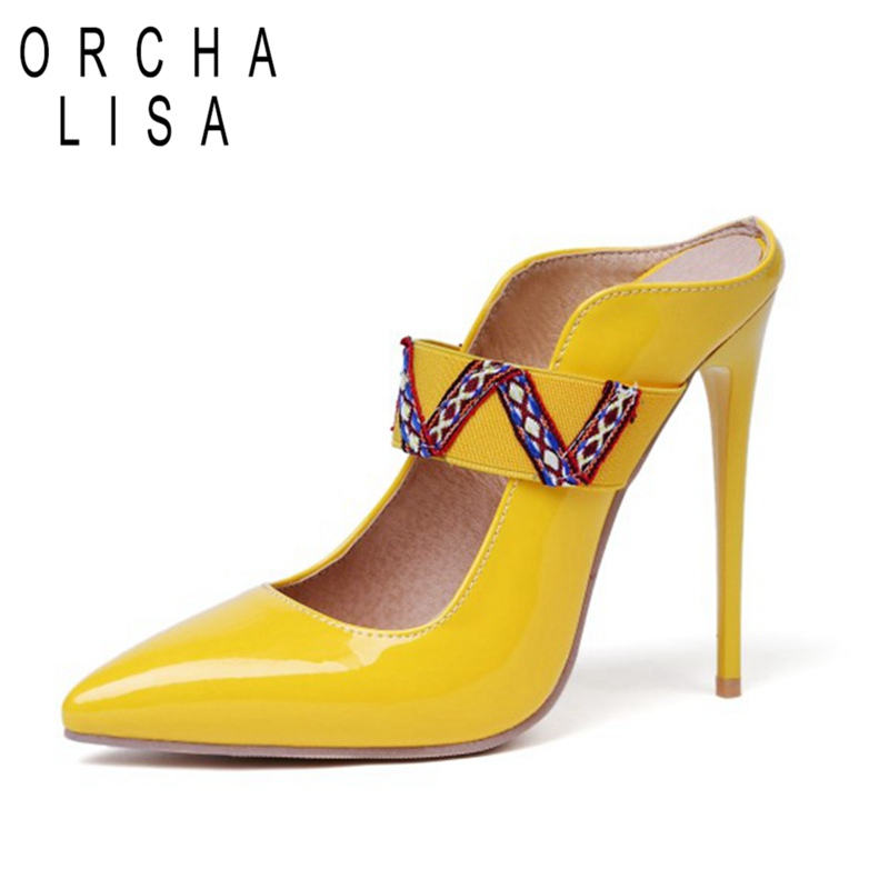ORCHA LISA Plus Size 44 46 12cm Super High Heels Women Lady Stilettos Pumps Yellow Black Red Slingbacks Bridal Party Shoes 1163