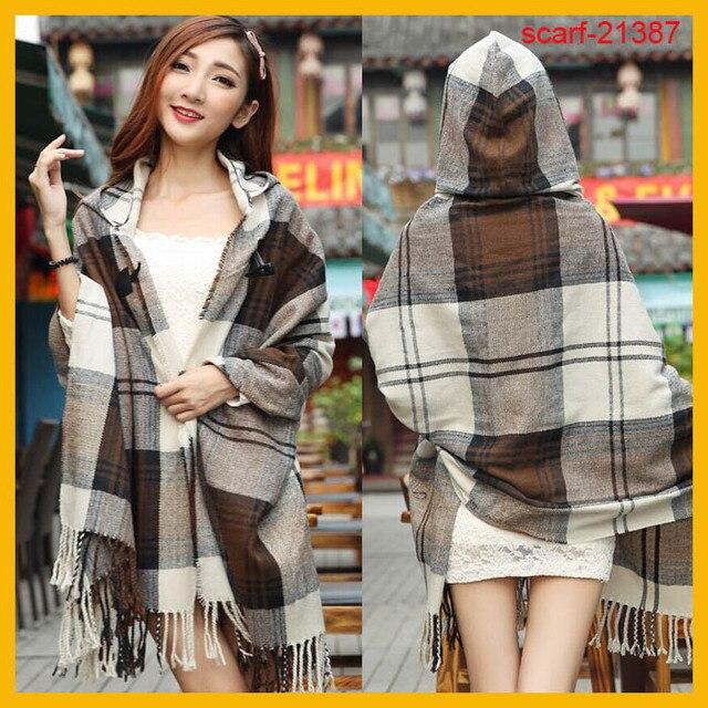 Новое поступление зима женщины шарфы акриловые капюшоном шарф кофе одеяло плед шарф платок
