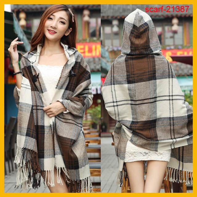 Nuevo invierno de la llegada mujeres bufandas de acrílico capucha bufanda manta café chal bufanda a cuadros
