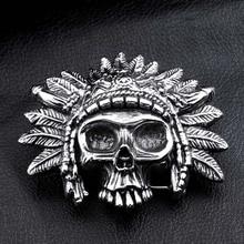 Envío de la gota y soldado de acero WholesaleStainless Acero punk cráneo hebilla de cinturón de hombres de la moda accesorios de la joyería