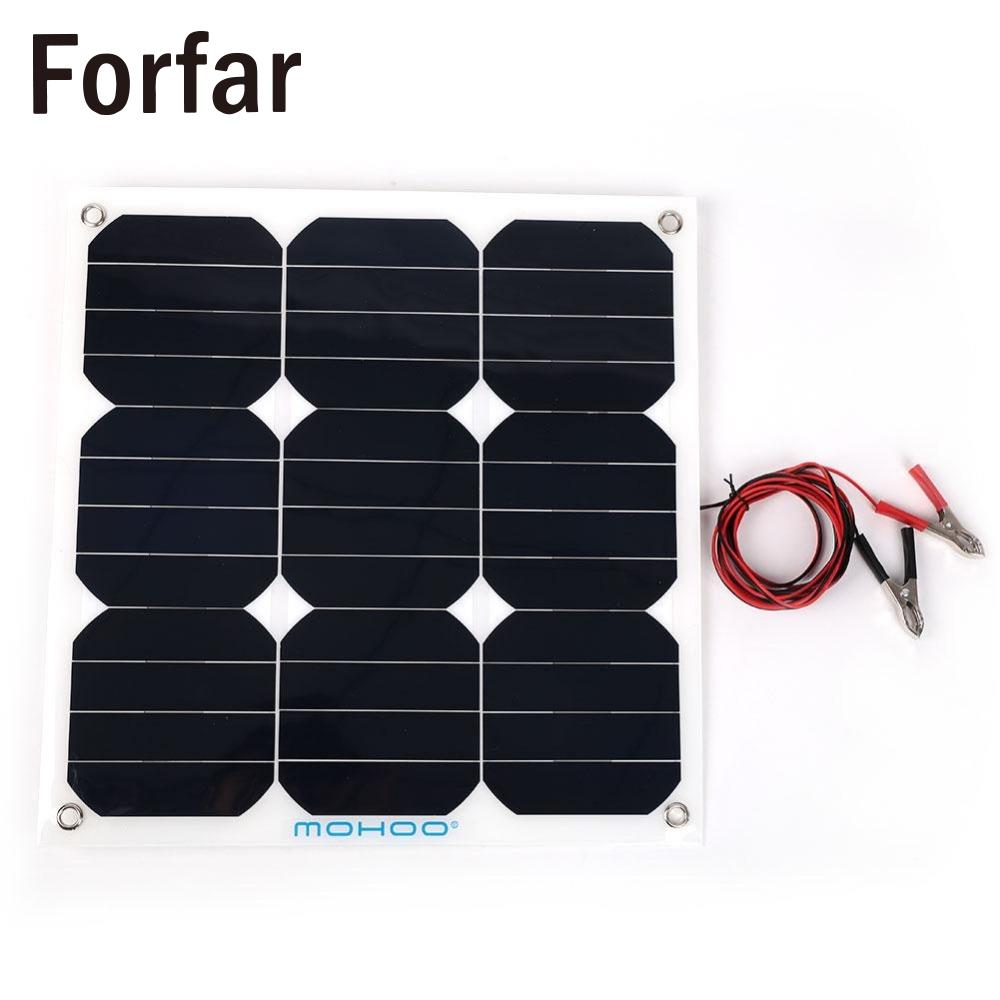 Forfar 30W 18V Flexible Boat Caravan Car Solar Panel For Outdoor Activity Covenience forfar 18v 30w smart solar power panel car boat battery bank charger w alligator clip portable travelling solar panel power