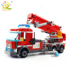 244pcs firefighting ladder fire truck Fireman Compatible city Building Blocks Educational Toys DIY Bricks for Children