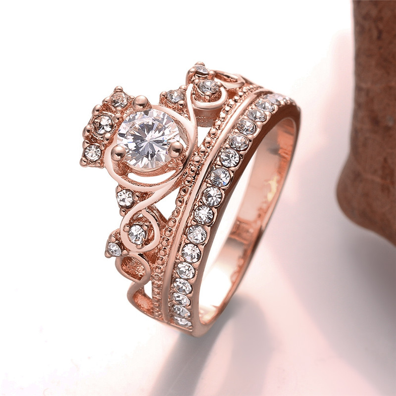 engagement princess queen crown wedding ring rose gold color cz rings for women elegant fashion aneis - Crown Wedding Ring