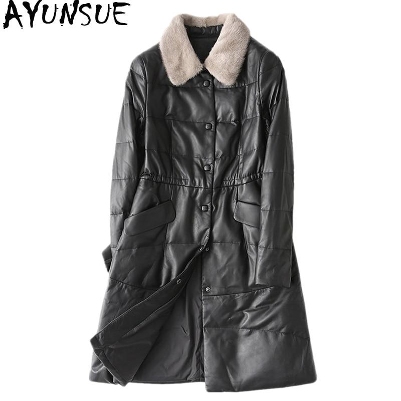 100% QualitäT Ayunsue Frauen Winter Unten Jacken Lange Echtem Leder Jacke Natürliche Schaffell Mantel Weiblichen Nerz Pelz Kragen Plus Größe Wyq2123 Und Verdauung Hilft