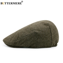 BUTTERMERE Army Green Flat Cap Men Winter Woolen Beret Fitted Thick Warm Hat Female Retro Duckbil Cabbie French Style Hats