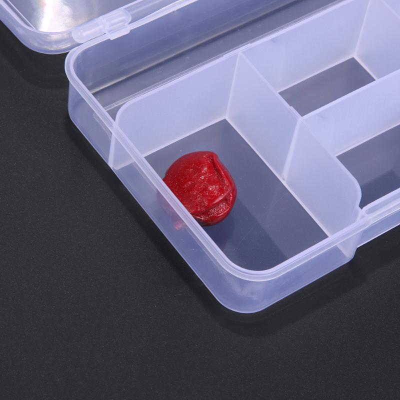 5 Compartment Plastic Storage Box Portable Adjustable Dividers and