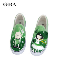 Hand Painted 2016 Ladies Casual Shoes Canvas Women Sneakers Women Breathable Flats Pretty Spring And Summer