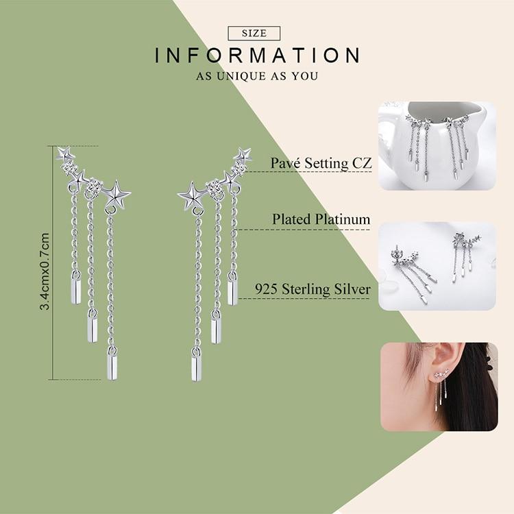 BAMOER Genuine 925 Sterling Silver Long Chain Star Dazzling CZ Drop Earrings for Women Fashion Earrings Silver Jewelry SCE399