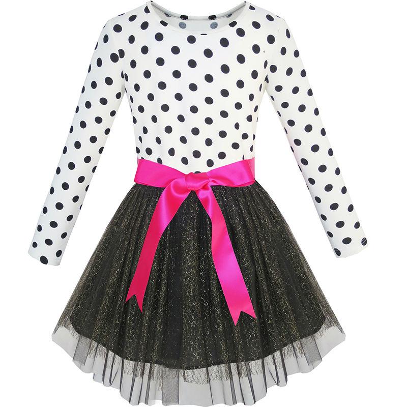 a1c4cc3d3 Sunny Fashion ملابس أطفال بنات كم طويل تنورة منتفخة شديدة القصر تنورة ربطة  القوس حفلة