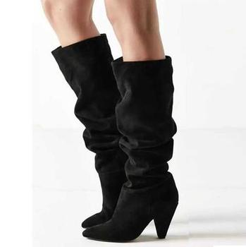 2019 Spring New Brand Woman Sexy Black Suede Fold Pointed Toe Slip On Spike Heels Knee High Niki Long Boots Big Size 43 Lad