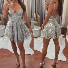 Summer Women Lace Dress Sexy Backless V-neck Club Party Dresses Sleeveless Spaghetti Strap Sliver Casual Mini Sundress