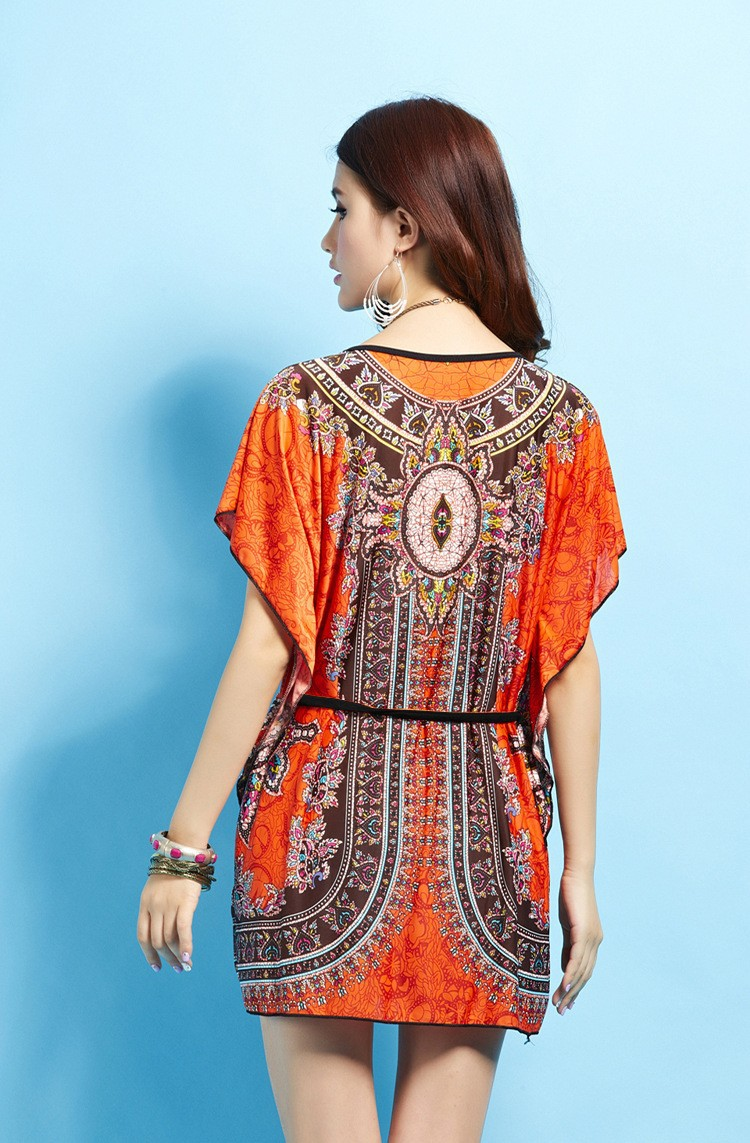 Vintage Dress 2017 New Summer Style Retro Print Boho Loose Casual Dress Bohemian Tunic Beach Dress Vestidos Plus Size Dress 5