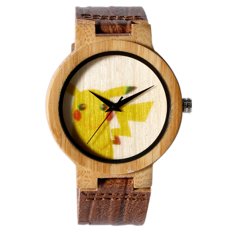 a6782772d511 Pokemon Pikachu de la Naturaleza de Bambú de Madera ocasional de Cuero  Genuino Correa de La Banda Brazalete de Regalo de Moda Caliente Hombre Mujer  Reloj ...