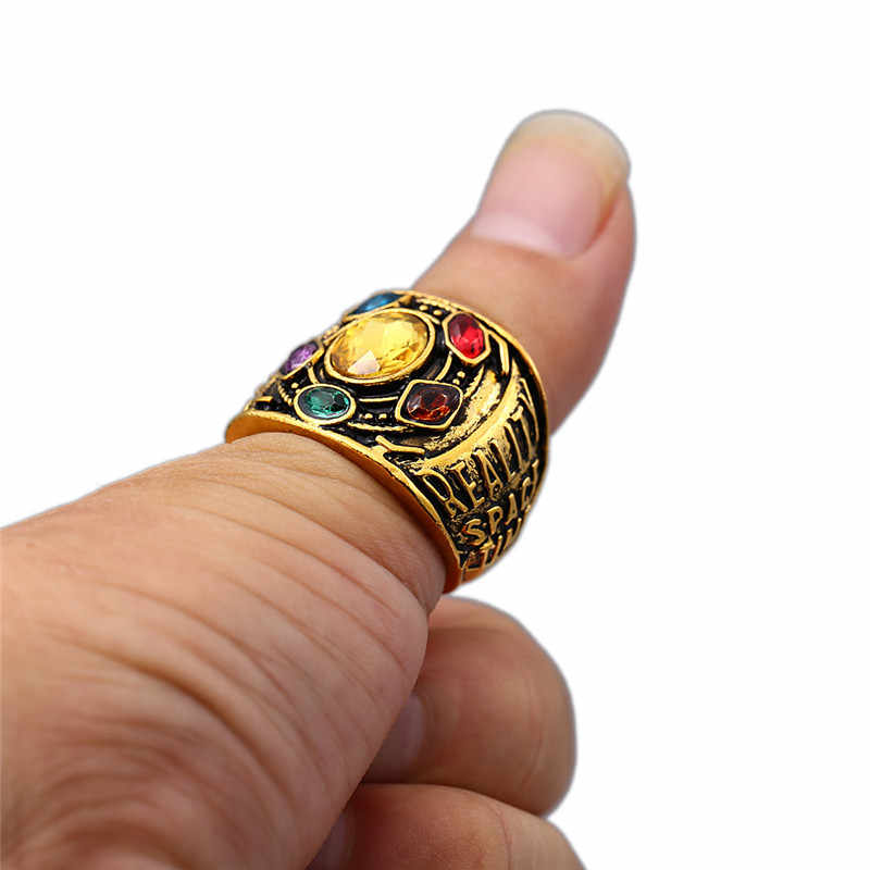 d419ac72456b5 Infinity War Thanos Jewelry Infinity Gauntlet Power Ring Avengers  Handstamped Letter Ring with Crystals Finger Rings
