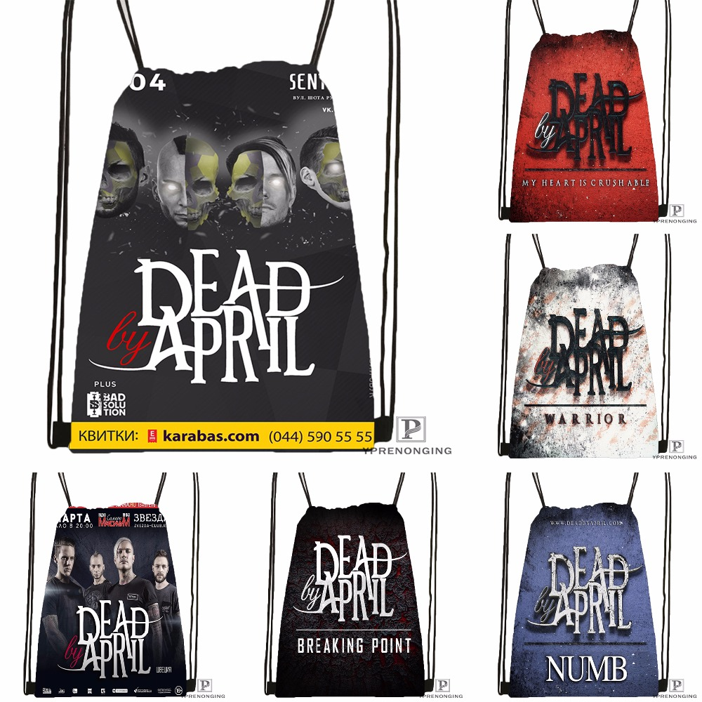 Custom Dead By April Band Drawstring Backpack Bag Cute Daypack Kids Satchel (Black Back) 31x40cm#180531-03-65