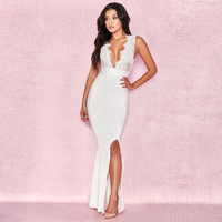 MEQEISS 2018 new best women's white elegant deep V neck lace stitching side high split celebrity party long bandage dress