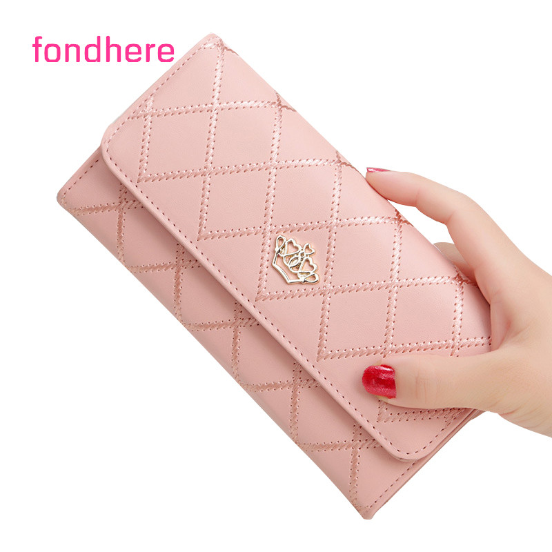 fondhere Women Wallet Fashion Metal Crown Long Clutch Wallet Female PU Leather Female Purse High Quality Ladies Wallet
