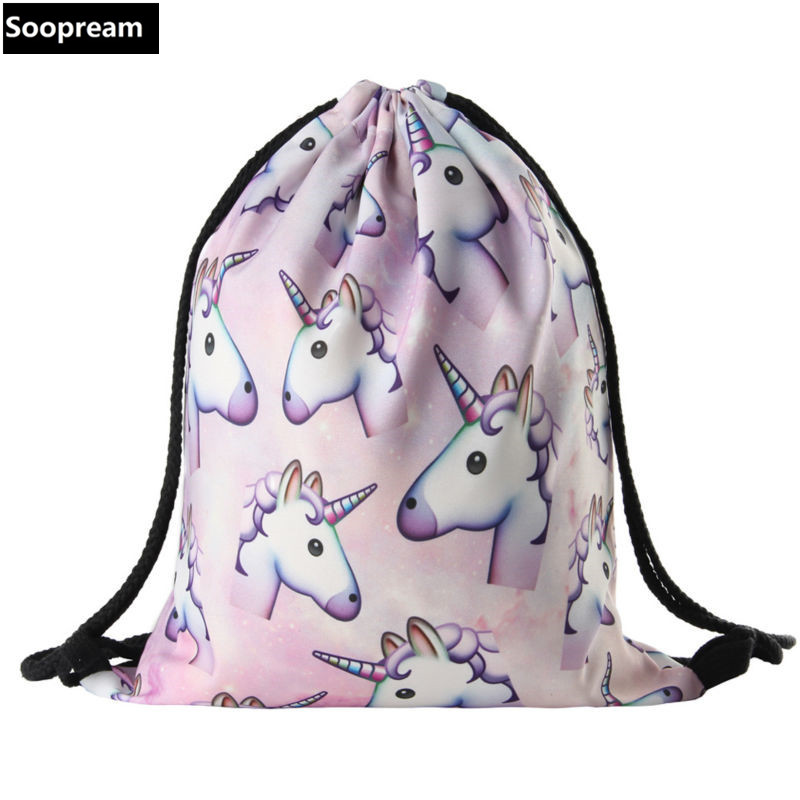 3D Printing Backpack Unicorn Women  Backpack  travel softback women mochila..