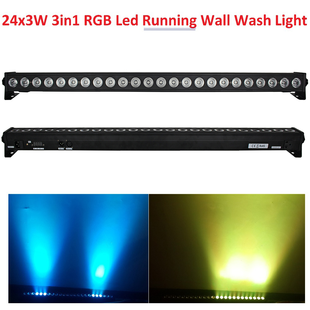 Хит продаж 2016 г. светодиодный стены мыть свет 24 шт. 3 Вт RGB 3in1 СВЕТОДИОДНЫЙ линии бар сцены с скаку Функция светодиодный отдельных Управление