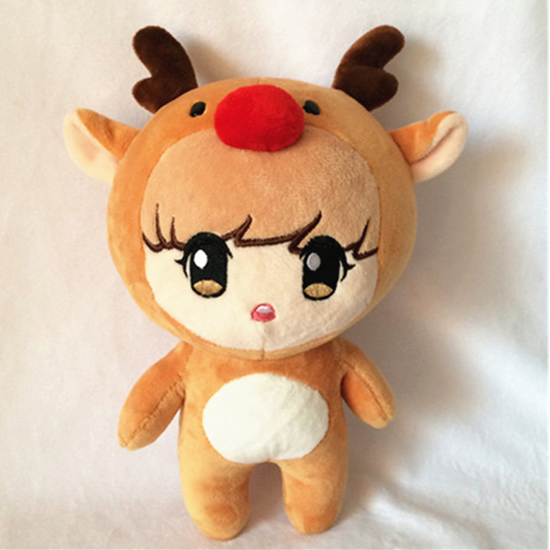 25cm Korea Kawaii Plush Dolls Reindeer Bear Cute Plush Character Stuffed Toys Doll Soft PP Cotton Handmade Fans Gift Collection