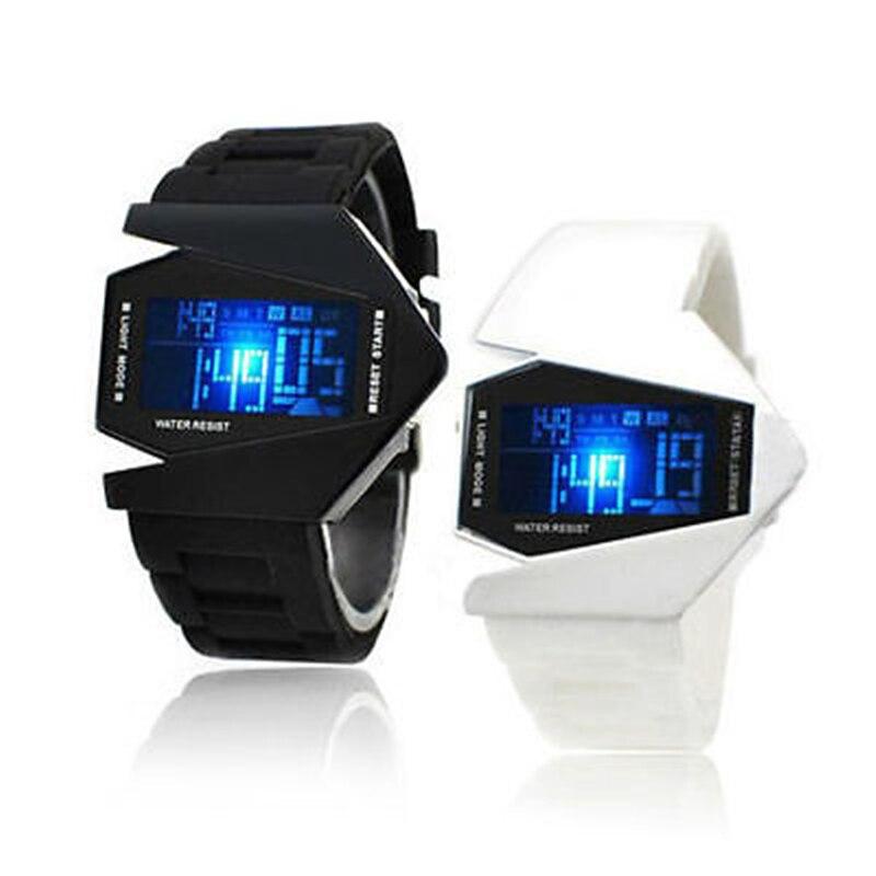 Новая мода для отдыха женские часы модель самолета Творческие силиконовые часы цифровой дисплей светодиодные спортивные часы для мужчин