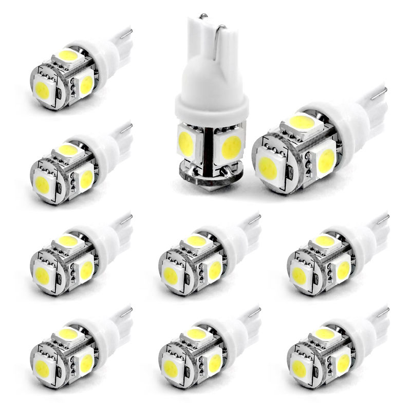 CYAN SOIL BAY 10X T10 White Led Canbus Error Free 5 SMD Car Side Wedge light Bulb 168 194 W5W DC 12V 24V cyan soil bay 1x canbus error free white t10 5630 6 smd wedge led light door dome bulb w5w 194 168 921 interior lamp
