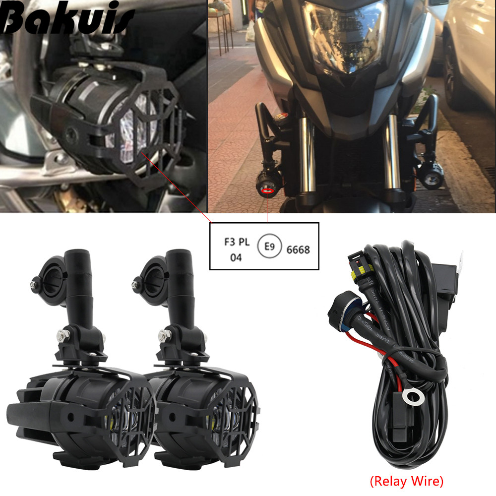 Set Motorcycle Universal Assemblie Driving font b Lamp b font 40W LED Auxiliary Fog Light For