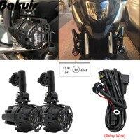 Seti Motosiklet Evrensel Assemblie Sürüş Lambası 40 W LED Yardımcı Sis Lambası BMW R1200GS/ADV/F800GS F650FS /K1600/F700GS