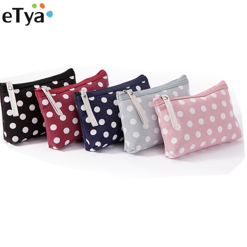 eTya Women Dots Cosmetic Bag Makeup Bag Lady Neceser Small Make Up Bag Travel Organizer Zipper Cosmetic Bag For Cosmetics oswego brand bling sequins cosmetic bag zipper bag portable fashion small makeup bag cosmetic cases organizer travel toilet kit
