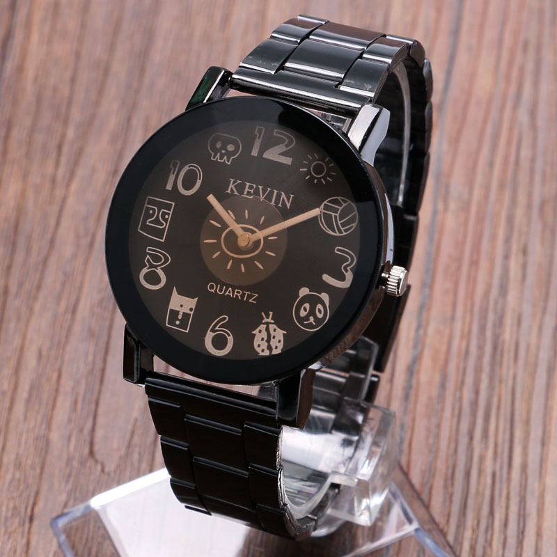 cef69207bf45 KEVIN moda reloj banda acero negro 2 estilos historieta encantadora Dial  cuarzo reloj mujeres relojes Relogio