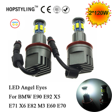 Car-styling 2*120W H8 Angel Eyes LED Marker C.R.EE LED Chips XTE For BMW E90 E91 X5 X6 E82 M3 E60 E61 E70 F01 E89 E92 headlights