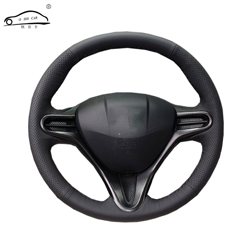 Artificial Leather car steering wheel braid for Honda Civic Old Civic 2006-2011/Custom made auto Steering wheel cover geometric print color block splicing v neck long sleeve sweater