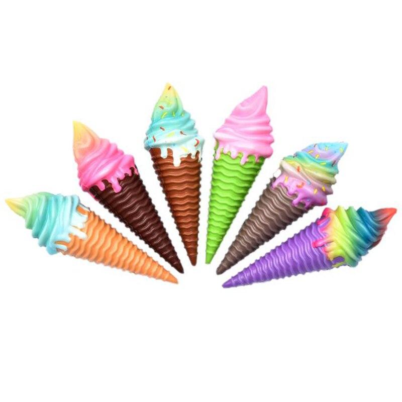 Купить с кэшбэком Jumbo Colorful Ice Cream Squishy Slow Rising Soft Creative Squeeze Toys Simulation Stress Relief Funny Xmas Gift Toy for Kids