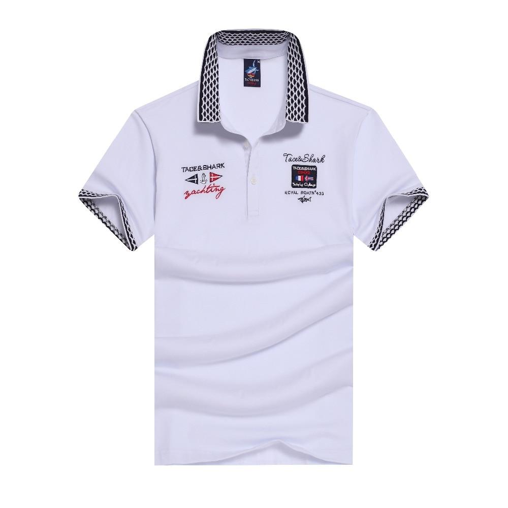 Camisa homem marca polo roupas tace   shark polo ventilação lapela bordado  puro algodão dos homens camisa polo em Polo de Dos homens de Roupas no ... d96ee8d9b45b3